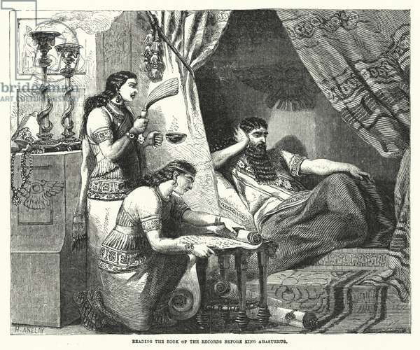 Reading the Book of the Records before King Ahasuerus (engraving)