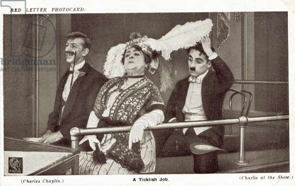 Charlie Chaplin at the show (b/w photo)