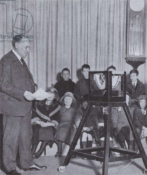 British composer and educator Sir Walford Davies making a radio broadcast for the BBC, 1925 (b/w photo)