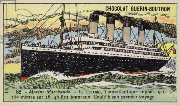 Titanic, British transatlantic liner, 1911 (chromolitho)