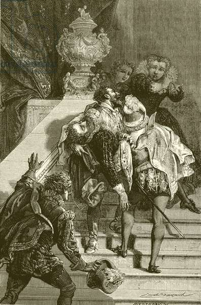 Henry IV wounded, taken to the Louvre (engraving)