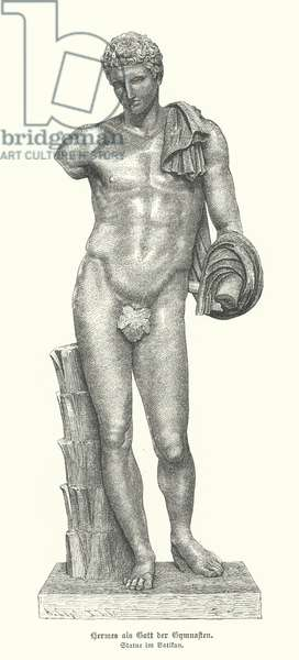 Statue of the Ancient Greek god Hermes as the god of gymnasts (engraving)
