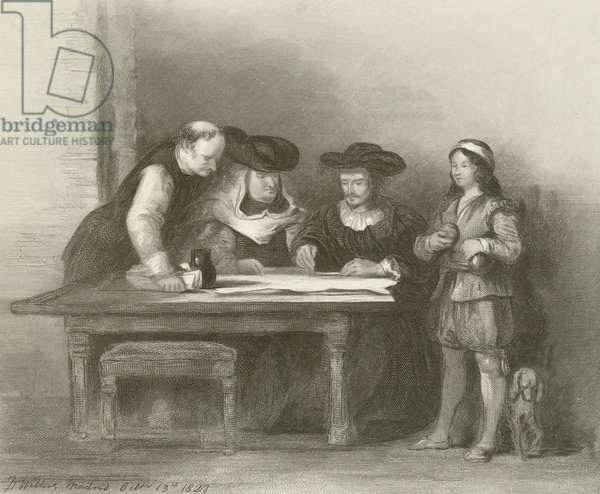 Columbus at the Convent of La Rabida (engraving)