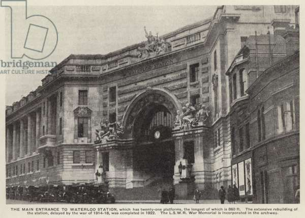 Main entrance to Waterloo Station, terminus of the Southern Railway, London (b/w photo)