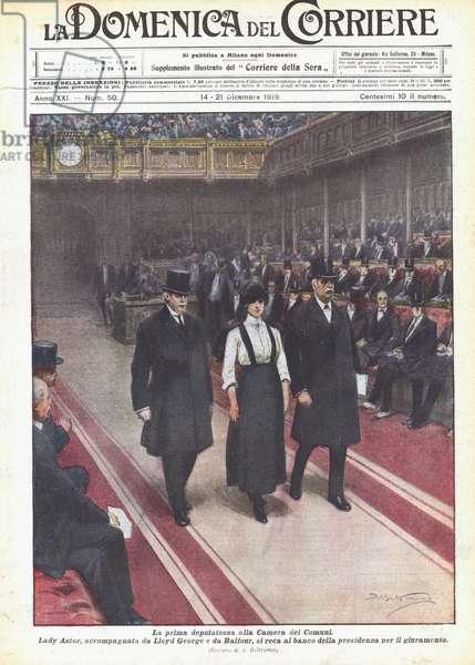 La prima deputatessa alla Camera dei Comuni (colour litho)