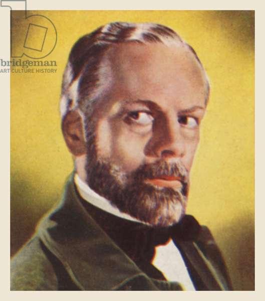 Paul Muni, as Louis Pasteur (colour litho)