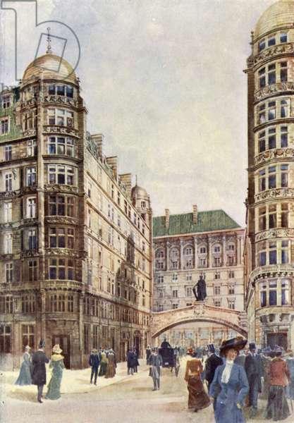 Strand Entrance, Savoy Hotel (colour litho)