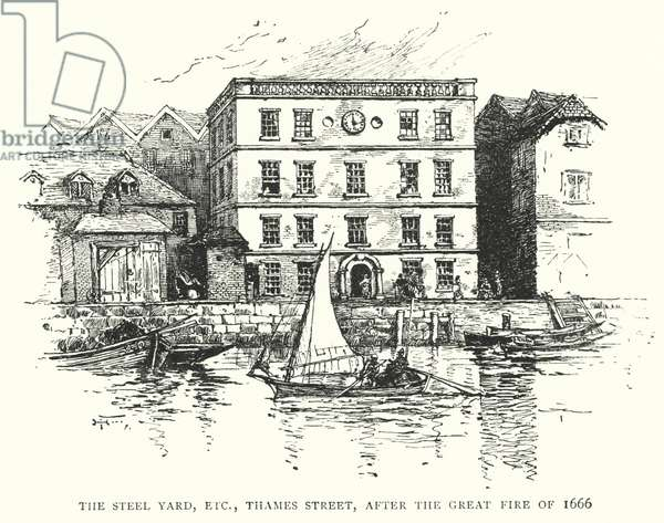 The Steel Yard, etc, Thames Street, after the Great Fire of 1666 (engraving)