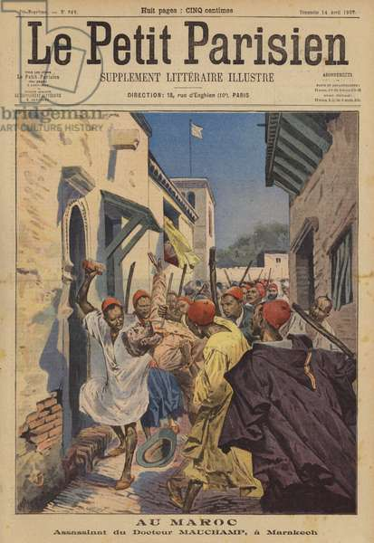 The murder of French doctor Emile Mauchamp in Marrakesh, Morocco (colour litho)
