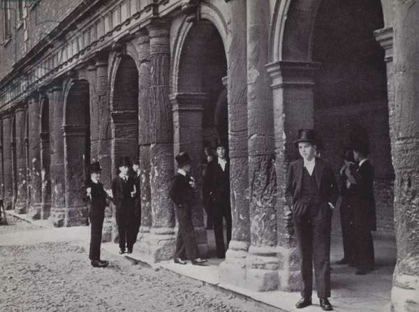 Outside Chambers, Eton,  waiting for the masters to come out (b/w photo)