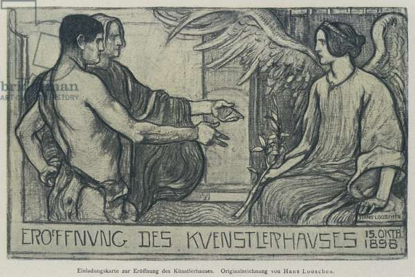 Invitation card to the opening of the Gallery of the Verein Berliner Kunstler (Association of Berlin Artists), 1898 (engraving)