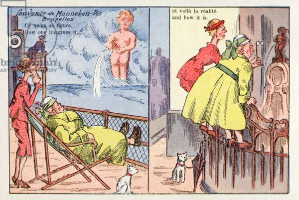 Manneken-Pis statue in Brussels, comic postcard (colour litho)