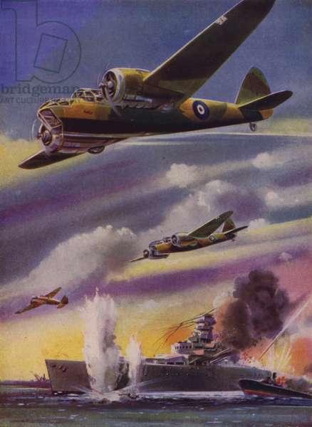 British Bristol Blenheim light bombers attacking a German warship, World War II (colour litho)