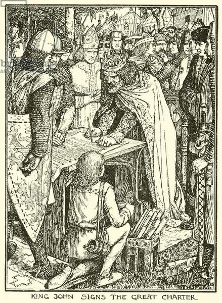 Magna Carta. King John Signs the Great Charter (engraving)