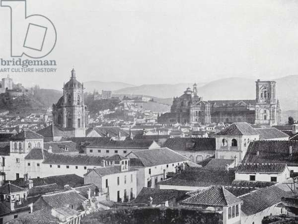 View of the Cathedral and Alhambra, Granada (b/w photo)