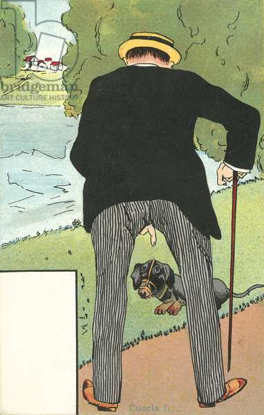 Man pointing at his dog in a slightly unforunate way (colour litho)