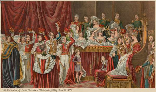 The Coronation of Queen Victoria at Westminster Abbey, 28 June 1838 (chromolitho)