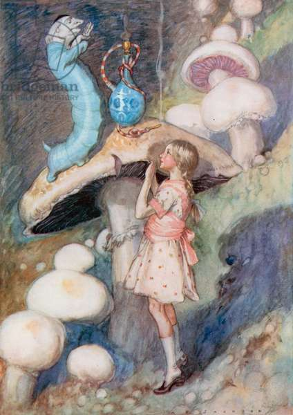 Illustration for Alice in Wonderland (colour litho)