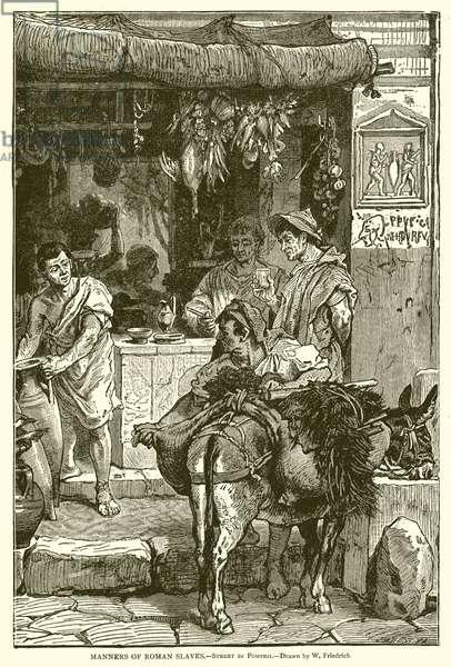 Manners of Roman Slaves.--Street in Pompeii (engraving)