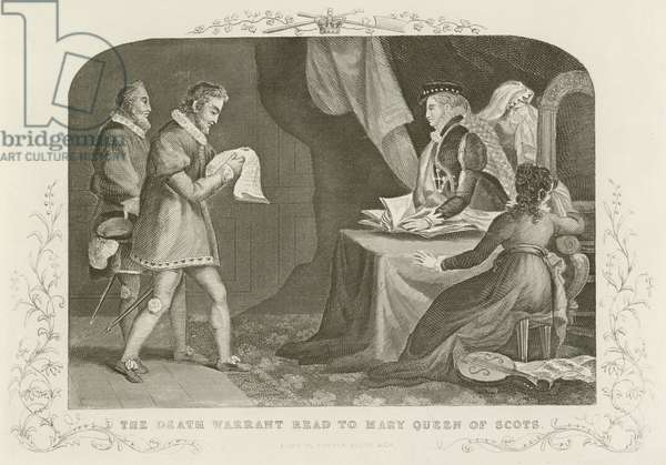 The death warrant read to Mary Queen of Scots (engraving)