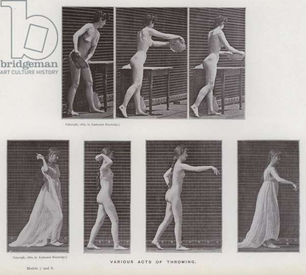 The Human Figure in Motion: Various acts of throwing (b/w photo)