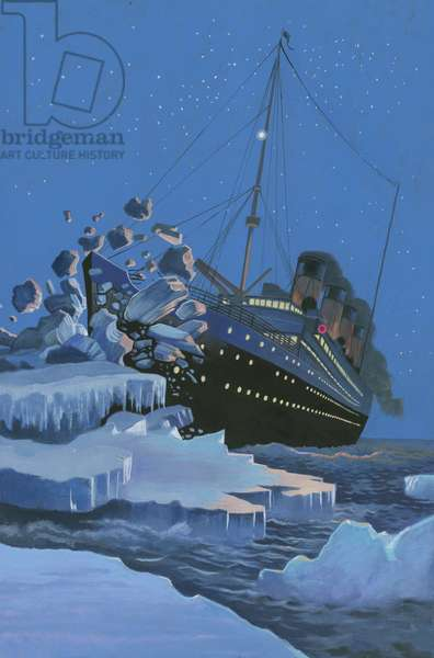 The Titanic collides with an iceberg on the 28th Aprl 1912 (gouache on paper)