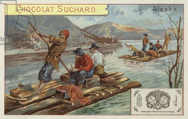 Travelling by raft, Alaska (chromolitho)