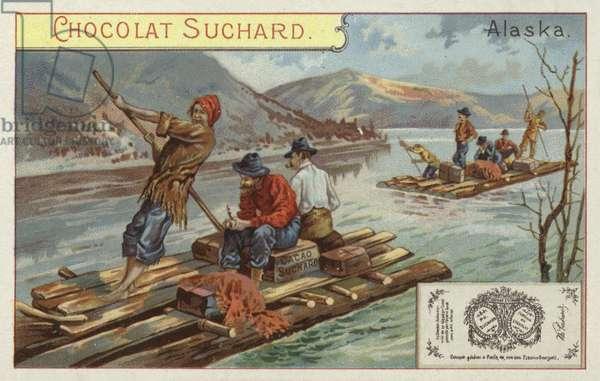 Travelling by raft, Alaska (chromolitho)