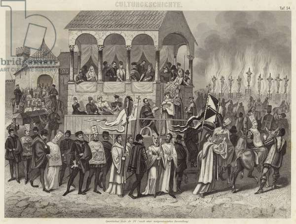 Spanish auto-da-fe: execution of convicted heretics under the Inquisition (engraving)