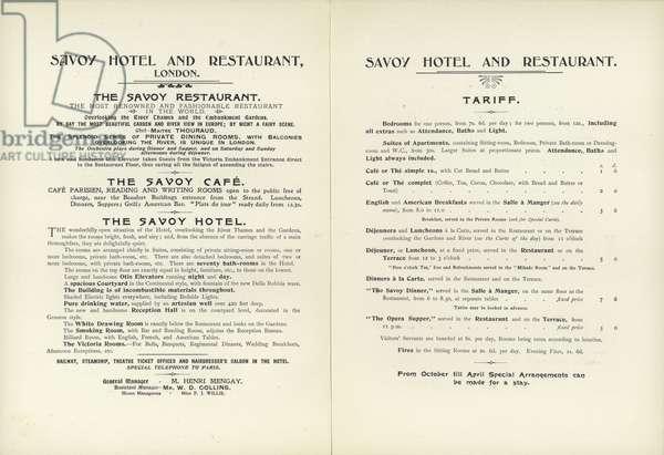 Savoy Hotel tariff, 1900 (litho)