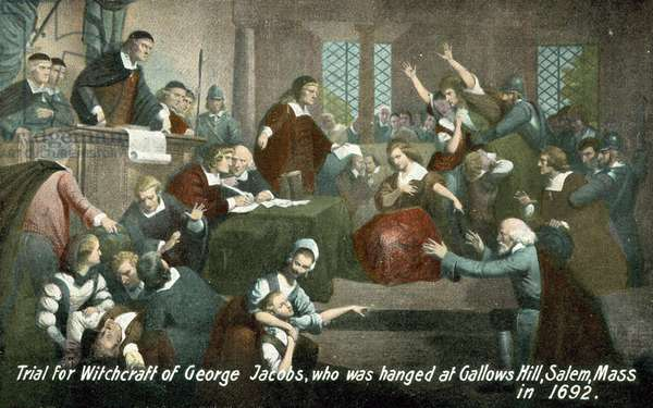 Trial for witchcraft of George Jacobs, who was hanged at Gallows Hill, Salem, Massachusetts, USA, in 1692 (colour litho)