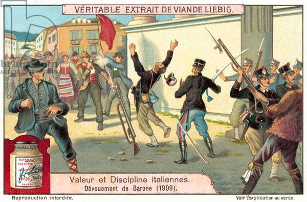 Devotion to duty of Barone, 1909 (chromolitho)