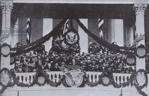 Franklin D Roosevelt making his inaugural address as President of the United States, 1933 (b/w photo)