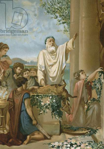 A sacrifice in Ancient Greece (chromolitho)