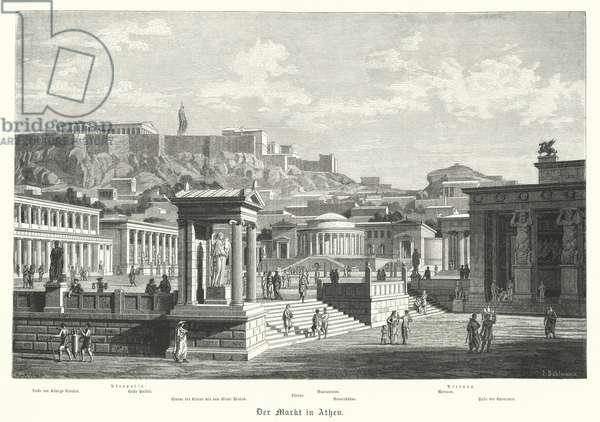 The market in Athens, Ancient Greece (engraving)