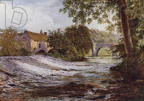 On the Derwent, Baslow (colour litho)