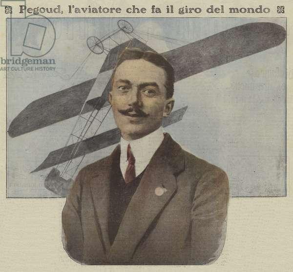 Adolphe Pegoud, French aviator (colour photo)