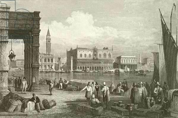 The Grand Canal and Doge's Palace, Venice (engraving)