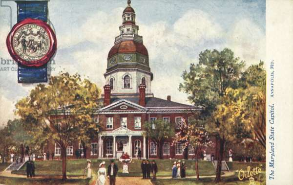 The Maryland State Capitol, Annapolis, Maryland (colour litho)