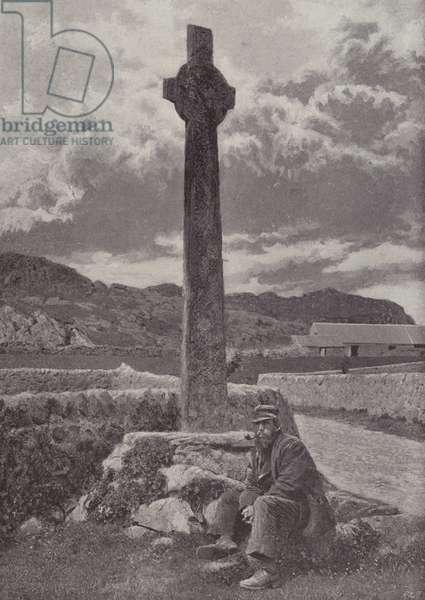 Maclean's Cross, Iona (b/w photo)