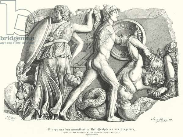Battle between the Gods and Titans and giants, Ancient Greek relief from Pergamon (engraving)