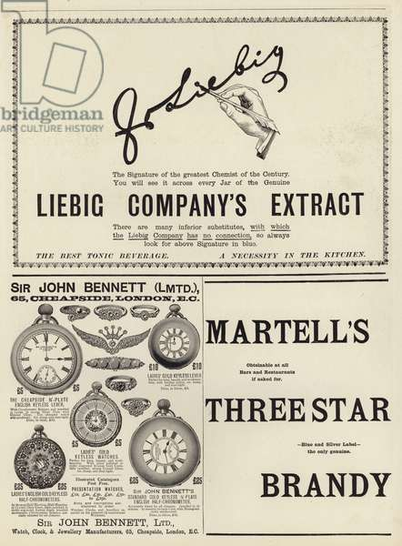 Advertising spread from The Graphic Christmas Number 1897 (engraving)