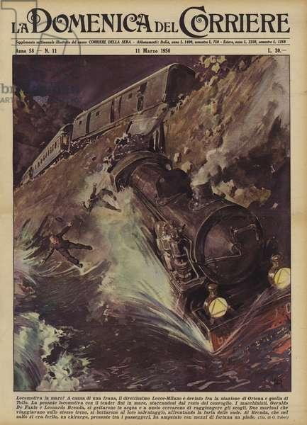 Locomotiva in mare! (colour litho)