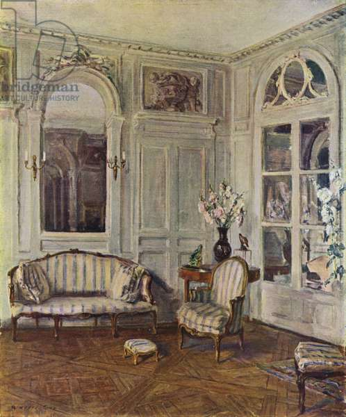 White Salon in St Brice, France, the House of Edith Wharton, Louis XVI style, about 1760-70 (colour litho)