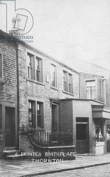 Birthplace of English novelist Charlotte Bronte, Thornton, Yorkshire (b/w photo)