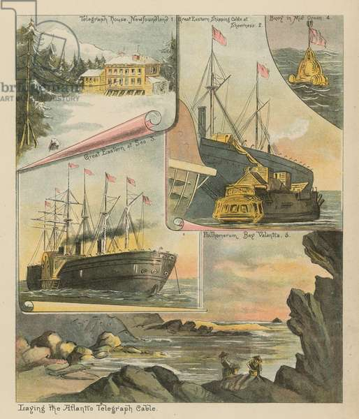 Laying the Atlantic Telegraph Cable (chromolitho)