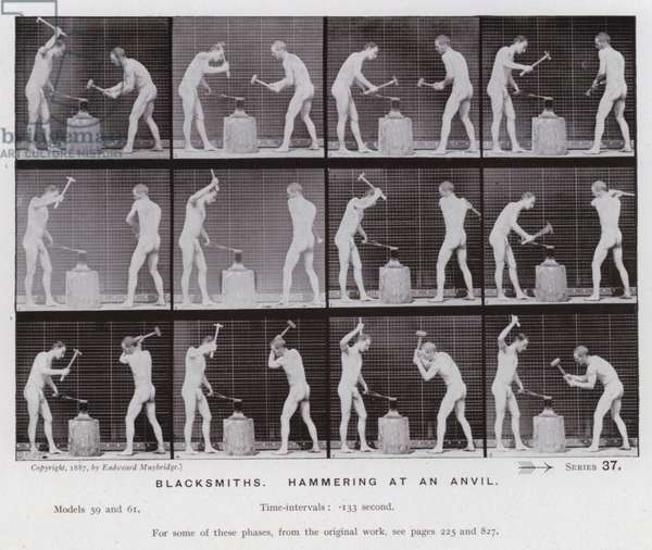 The Human Figure in Motion: Blacksmiths, hammering at an anvil (b/w photo)
