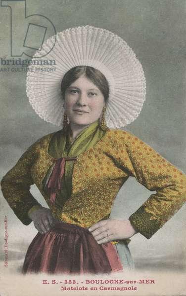 Woman wearing a carmagnole, Boulogne-sur-Mer, France (colour photo)