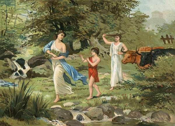 Greek family returning from the harvest