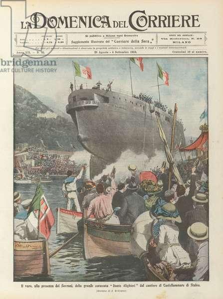 Il varo, alla presenza dei Sovrani, della grande corazzata Dante Alighieri dal cantiere di Castellammare di Stabia (colour litho)